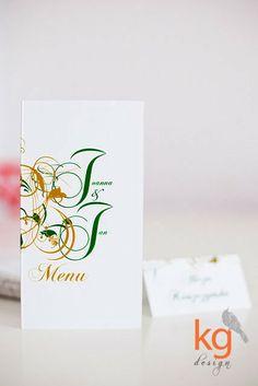 Dodatki ślubne, dodatki weselne, ornament roślinny, szmaragdowy, menu