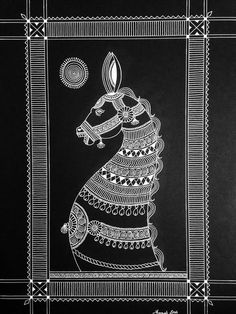 Pencil Drawing Patterns Kala Ghoda by ColorSpirited on Etsy - Phad Painting, Worli Painting, Fabric Painting, Madhubani Art, Madhubani Painting, Mandala Drawing, Mandala Art, Graffiti Wall Art, Indian Art Paintings