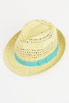 Music Festival https://sincerelysweetboutique.com/shop-collections/music-festivals.html - #music-festivals #festival #musicFestival - Hat - Ocean Breeze Open Weave Straw Fedora Hat with Ribbon Trim in Aqua