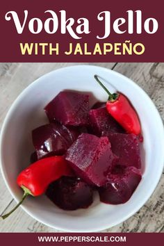 We use fresh berries in this recipe, rather than a packet of berry jello. It provides a much fresher flavor. But if you are short on time (or short on berries) you can substitute that classic packet in. Simply make the jello according to the instructions then heat in a pan with the jalapeño. #jalapeno #vodka #jello #jalapenovodkajello #alcoholicjellorecipe #alcoholicjello #jellorecipe Chipotle Recipes, Jello Recipes, Drink Recipes, Best Dinner Recipes, Game Day Food, Great Desserts, Stuffed Hot Peppers, Chocolate Recipes, Vodka