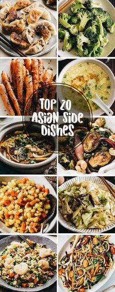 20 quick and easy asian side dishes easy chinese recipes, vegetarian chines Thai Side Dishes, Chinese Side Dishes, Japanese Side Dish, Quick Side Dishes, Dinner Side Dishes, Potluck Dishes, Healthy Side Dishes, Vegetable Side Dishes, Vegetable Recipes