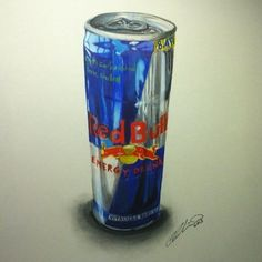 How I draw a Red Bull Can with PRISMACOLOR soft colored pencils and Double ended art markers. hours on inch paper Realistic Pencil Drawings, Fineliner Pens, White Gel Pen, Color Pencil Art, Realism Art, Marker Art, Colorful Drawings, Prismacolor, Red Bull