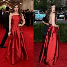 Met Gala Hailee Steinfeld Sexy Simple Red Carpet Celebrity Prom Dress Taffeta Backless A Line Halter