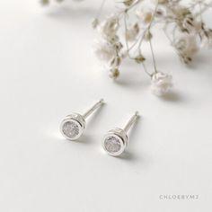 Dainty Cubic zirconia bezel stud earrings Sterling silver dot | Etsy Dainty Earrings, Dainty Jewelry, Sterling Silver Earrings Studs, Bead Earrings, Silver Beads, Jewelry Polishing Cloth, Earrings Photo, Crystals, Etsy