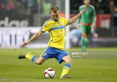 Sebastian Larsson of Sweden in action during the UEFA EURO 2016 qualifier match between Sweden and Moldova at Friends Arena on October 12, 2015 in Solna near Stockholm, Sweden.