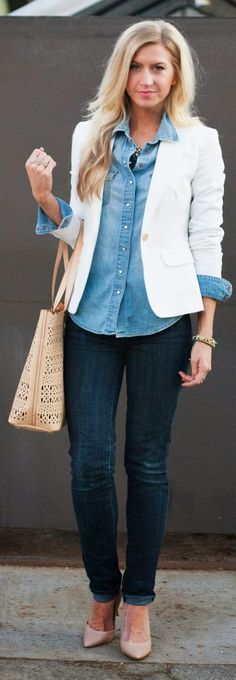 Chambray Button Up by Elle Apparel. Accessories by Stella & Dot.  Use the link in my profile to shop!  www.stelladot.com/sarahtaliaferro