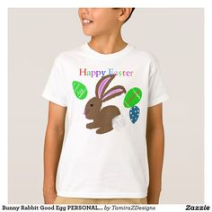 Bunny Rabbit Good Egg PERSONALIZED Name on Egg.  Available in shirt styles for boys and girls of all ages.  Original Graphic Artwork by TamiraZDesigns.