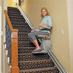 """This is a picture of what is called a """"Handicap Stair Lift"""" to help people of older age to get up and down the stairs safely. Long Island Ny, Stair Lift, Used Chairs, Dining Chairs, Aging In Place, Home Office Decor, Home Decor, Office Table, House Elevation"""
