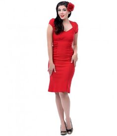 We never knew Allison to be so coy, darlings! Fresh from Steady, The Allison dress is an enchantingly lush red wiggle!