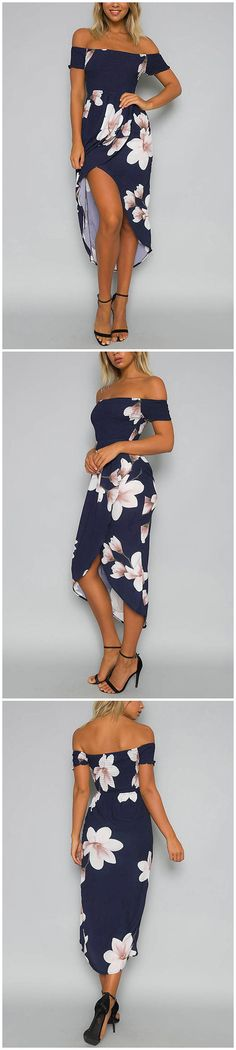 Random Floral Print Off Shoulder Midi Dress