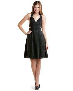 Narciso Rodriguez Black Linen & Silk Halter Dress