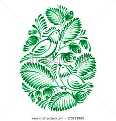 Floral Decorative Ornament Easter Egg Stock Vector - Illustration of holidays, green: 36408155 Folk Art Flowers, Flower Art, Easter Bunny Colouring, Bird Template, Stippling Art, Fabric Paint Designs, Floral Drawing, Quilling Designs, Elements Of Art