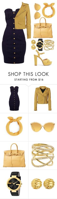 """""""Dark Gold"""" by eversmile ❤ liked on Polyvore featuring IRO, Linda Farrow, Hermès, Lana, Gucci and Tiffany & Co."""