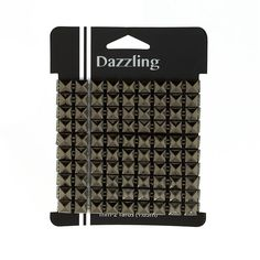 Metal Stud Square Spike Trim Gun Metal Gray from @fabricdotcom  This fashionable stud trim is the perfect way to accessorize apparel, tote bags, home decor accents and more! This trim features hollow gun-metal grey pyramid-shaped spikes that can be glued or handsewn onto your project. Package contains 2 yards of stud trim.