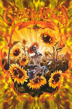 A great poster for any fan of the Grateful Dead! Harvest your inner Sunflower today. Art by Richard Biffle. Check out the rest of our fantastic selection of Grateful Dead posters! Need Poster Mounts. Grateful Dead Image, Grateful Dead Poster, Grateful Dead Wallpaper, Dead And Company, Rock Artists, Sunflower Fields, Sunflower Garden, Concert Posters, Music Posters