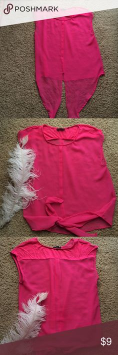 Dex pink sheer blouse Hot pink blouse with tie front. Fun and cool. Dex Tops Blouses