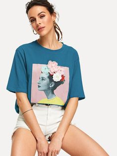 To find out about the Stereo Flowers Figure Print Tee at SHEIN, part of our latest T-Shirts ready to shop online today! Belted Shirt Dress, Tee Dress, Shein Dress, Vetement Fashion, Latest T Shirt, Printed Tees, Sexy Dresses, Ladies Dresses, Party Dresses