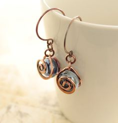 Luster aqua mini marble glass earrings with swirly by IngoDesign, $22.00