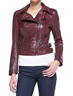 SkinOutfit Womens Stylish Slimfit Lambskin Motorcycle Biker Leather Jacket WJ 29 Marron XS *** More details @ http://www.amazon.com/gp/product/B01GQ79H22/?tag=clothing8888-20&pde=230716095153