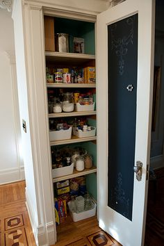 pantry organization. Add a chalk board to the inside of the pantry door so you can write down what your out of or even meal planning.