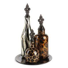 Glass Safari Bottle, Set of 3 at Kirkland's Safari Home Decor, Safari Decorations, Diy Home Decor, House Decorations, Safari Living Rooms, Safari Room, Jungle Room, Safari Theme, Safari Bathroom