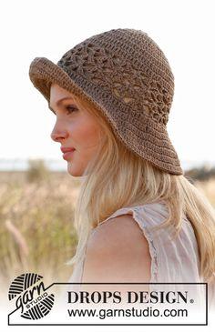 "Crochet DROPS hat in ""Bomull-Lin"" or ""Paris"". ~ DROPS Design"