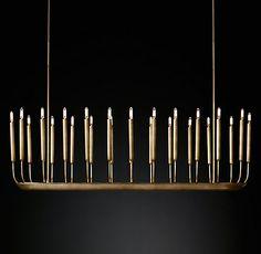 Quenouilles Linear Chandelier Modern Brass | RH Modern