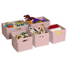 Pink Storage Bins (Set of 5)