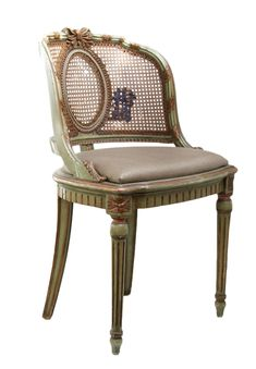 """something similar but cheaper vanity stool - $995 -Reupholstered antique vanity chair with caned backing, fluted legs, and terracotta accents. The cushion is a textured cotton and linen blend fabric with a light metallic sheen.   Seat height: 19"""""""