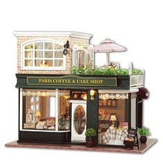 DIY Wooden Dolls House Handcraft Miniature Kit-Paris Coffee Cake Shop Model with All furniture,English instruction Dollhouse Kits, Wooden Dollhouse, Wooden Dolls, Dollhouse Miniatures, Dollhouse Furniture, Miniature Houses, Miniature Dolls, Paris Coffee Shop, Coffee Store