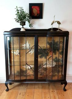 Large Art Deco Painted Display Cabinet with Bespoke Mural Wallpaper Antiques UK Stag Furniture, Paint Furniture, Upcycled Furniture, Furniture Makeover, Cool Furniture, Furniture Design, Kitchen Display Cabinet, Antique Display Cabinets, Vintage Bathrooms