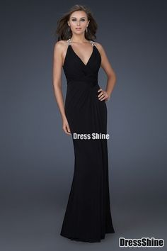 Petty Sheath/Column V Neck Black Floor Length Chiffon Black Prom Dresses - Evening Dresses - Social Occasion
