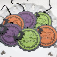 """Witching You a Happy Halloween"" Halloween Treat Gift Tags (Set of 6, $4.75), via Etsy."
