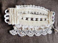 Crochet cuff Crochet bracelet White beaded crochet by SESIMTAKI