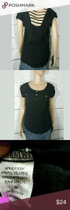 Mine Strappy Back Cap Sleeve Top Black Gold Women's Mine Strappy Back Cap Sleeve Top Black Gold Buttons Medium  Top in excellent used condition.  17.5 inches pit to pit.  25 inches long.    AB Mine Tops Blouses