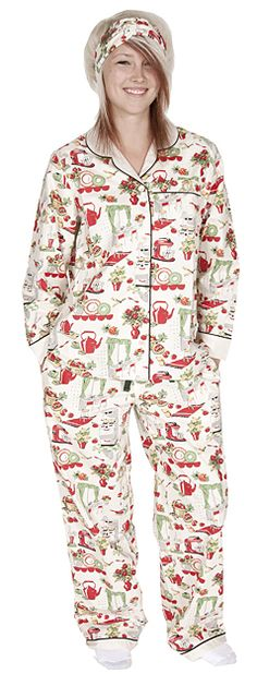 "Daisy Alexander ""Vintage Kitchen"" Classic Cotton Pajama Set in Cream $88 - Shop http://www.thepajamacompany.com/store/18467.html?category_id=11505"