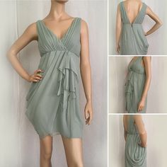 """❣ SALE! Alice + Olivia Empire Dress Alice + Olivia faux wrap dress. Beautiful and feminine! 100% silk ruched bodice, front cascading ruffles and pleating draped skirt, 6"""" back exposed zipper.  The color is pale aqua, size 8, 35"""" bust, empire waist, length is 25"""" from front center to longest hem point. Mannequin stands 5'8"""". Alice + Olivia Dresses"""