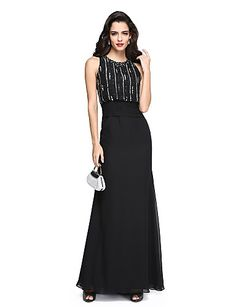 Sheath / Column Jewel Neck Floor Length Chiffon Prom / Formal Evening Dress with Beading Sash / Ribbon Ruched by TS Couture®