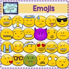 Emoji Smiley Faces Emoticons Clipart Bundle includes 24 colored and 24 line art images to represent some of the Whatsapp messenger emojis. Includes: - Ashamed and sad  - Ashamed - Blushing - Heart eyes - Kiss - LOL - Sleepy - Smiling - Straight mouth - Sunglasses - Winking w tongue - Angel - Angry - Crying - Dead - Evil - Injuried - Looking up - Nerd - Scared - Sick - Showing teeth - Unamused - Zip  Great for Bulletin boards and craftivities  PLEASE READ MY TERMS OF USE:   This set and/ or…
