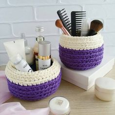 "1,745 Likes, 18 Comments - rose oliveira (@roseoliveira_tartes) on Instagram: ""Kit de cestos lindos! Inspiração from  @marina_vyazhusama  #crochet #trapillo #basket…"""