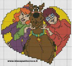 scooby doo love x-stitch Harry Potter Cross Stitch Pattern, Cross Stitch Alphabet Patterns, Disney Cross Stitch Patterns, Cross Stitch For Kids, Cross Stitch Kits, Cross Stitch Charts, Cross Stitch Designs, Lilo E Stitch, Disney Stitch