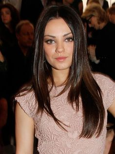 Mila Kunis straight, layered, middle-part haircut