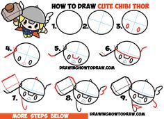 How to Draw Cute Chibi Kawaii Thor from Marvel Comics in Easy Steps Drawing Tutorial