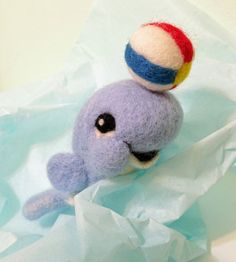 Felted Blue Whale with Beach Ball Ornament by MelaniesMenagerie, $28.00