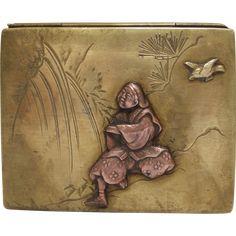 Meiji Era Japanese Mixed Metal Brass and Copper Box from Kirsten's Corner on Ruby Lane