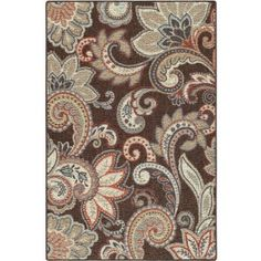 Better Homes and Gardens Brown Paisley Berber Printed Area Rug - Walmart.com