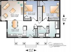 1st level Economical Modern home plan with an open kitchen, dining, family floor plan - NOYO 2