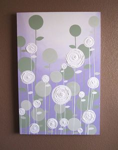 Lavender and Green Textured Painting, Abstract Flowers, Large 24x36 Acrylic Painting on Canvas via Etsy