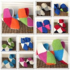 Oppskrift på firkant-tøfler, med monterings-beskrivelse H Design, Slipper Socks, Slippers, Projects To Try, Kids Rugs, Knitting, Diy, Crocheting, Warm