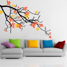 Pretty Autumnal Branch Wall Decal is customizable and removable. We use the best quality material to manufacture our wall decals. All wall decals are made to order and manufactured in Canada. Simple Wall Paintings, Creative Wall Painting, Wall Painting Decor, Mural Wall Art, Tree Wall Art, Diy Wall Art, Wall Art Decor, Room Decor, Wall Painting For Bedroom